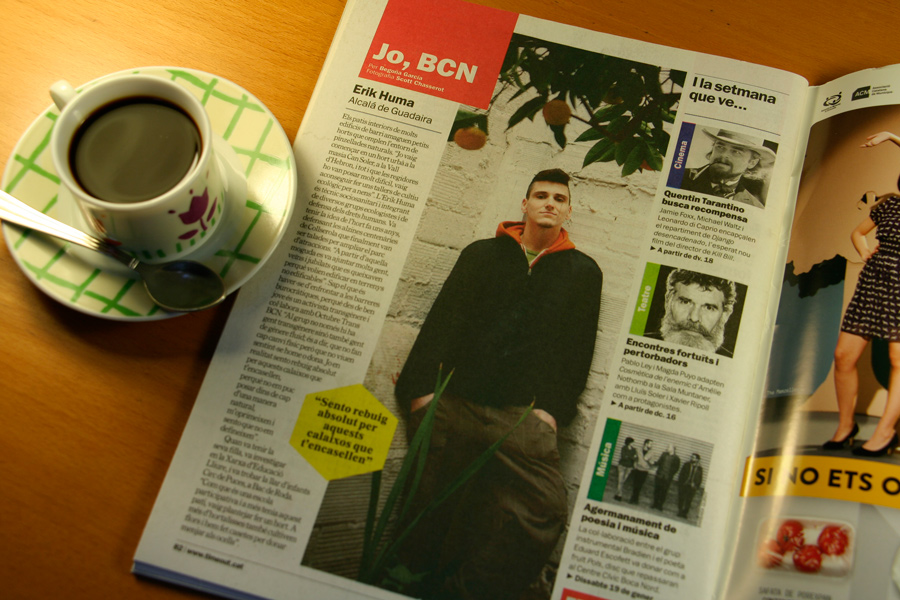 Erik Huma. Jo, BCN. TimeOut. Entrevista/perfil a la revista TimeOut BCN. Per Begoña García Carteron | Fotografia Scott Chasserot. 16 de Gener 2013