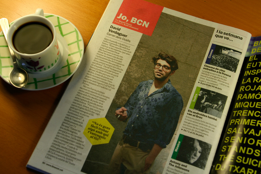 David Verdaguer. Jo, BCN. TimeOut. Entrevista/perfil a la revista TimeOut BCN.Per Begoña García Carteron | Fotografia Scott Chasserot. 26 de Juny 2013